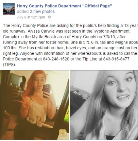 A prime example of how law enforcement uses Facebook to locate missing people. (Courtesy: Horry County Police/Facebook)